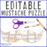EDITABLE Mustache Activity - Make Your Own Puzzles on ANY Topic!