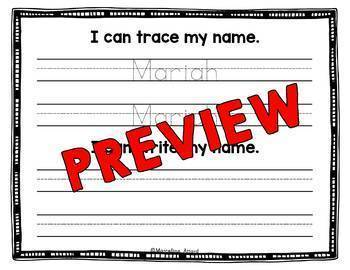 KINDERGARTEN EDITABLE NAME ACTIVITIES (EDITABLE NAME PRACTICE WORKSHEETS)