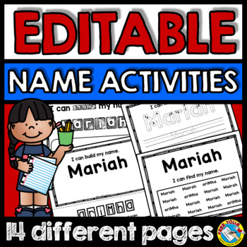 KINDERGARTEN EDITABLE NAME ACTIVITIES (EDITABLE NAME PRACTICE WORKSHEETS)
