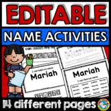 NAME ACTIVITIES EDITABLE (NAME PRACTICE EDITABLE KINDERGARTEN SHEETS)