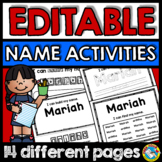 KINDERGARTEN EDITABLE NAME ACTIVITIES (EDITABLE NAME PRACT