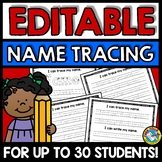 EDITABLE NAME TRACING & WRITING PRACTICE WORKSHEETS MORNING WORK ACTIVITY KINDER