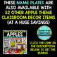 EDITABLE NAMEPLATES for APPLE THEME by CLUTTER FREE CLASSROOM