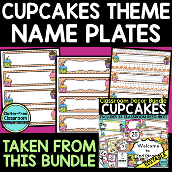 EDITABLE NAMEPLATES for CUPCAKES THEME by CLUTTER FREE CLASSROOM