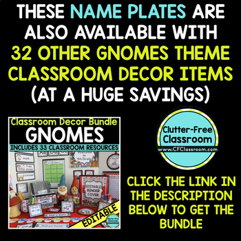 EDITABLE NAMEPLATES for GNOME THEME by CLUTTER FREE CLASSROOM
