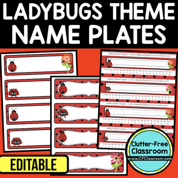 EDITABLE NAMEPLATES for LADYBUG THEME by CLUTTER FREE CLASSROOM