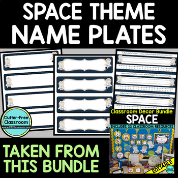 EDITABLE NAMEPLATES for SPACE THEME by CLUTTER FREE CLASSROOM