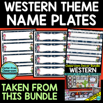 EDITABLE NAMEPLATES for WESTERN THEME by CLUTTER FREE CLASSROOM