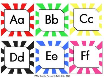 Word Wall Labels and Decor Packet: EDITABLE   (Sunburst)