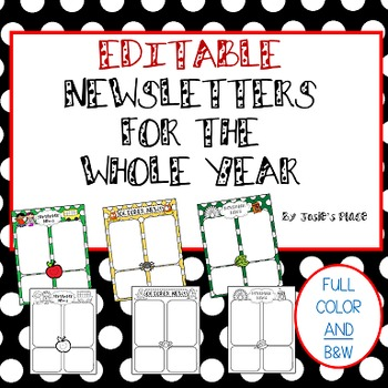 Editable Newsletters for the Year -  September FREEBIE!