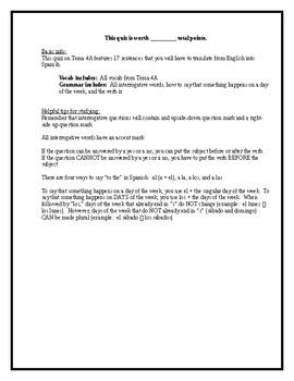 EDITABLE NO PREP Spanish I Realidades 4 4A Quiz HW Interrogatives Ir Days Week