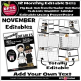 EDITABLE NOVEMBER -FLIP BOOKS - MONTHLY NEWSLETTERS - CALE