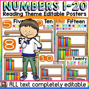 EDITABLE NUMBER POSTERS: 1-20: READING THEME