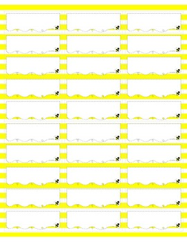 EDITABLE Name Labels #8160 {Yellow Doodle Bee Design}