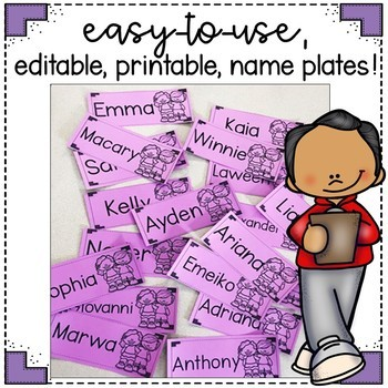 EDITABLE Name Plates FREEBIE!