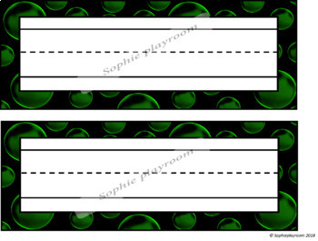 EDITABLE Name Plates / Name Tags - Glow in the Dark Bubbles