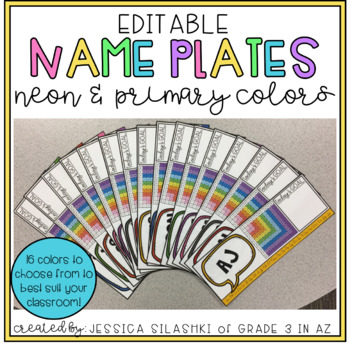 EDITABLE Name Plates (Neon & Primary Colors!)