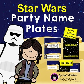 Party Name Plates Editable (Star Wars Inspired)