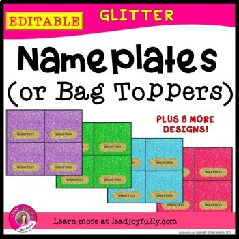 EDITABLE Name Plates or Bag Toppers (GLITTER)