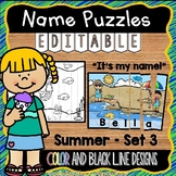 Summer Name Practice Activity Puzzles EDITABLE
