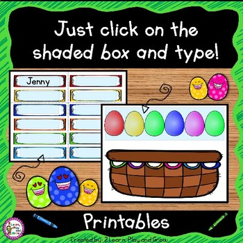 EDITABLE Name Practice Activity for Spring and Easter