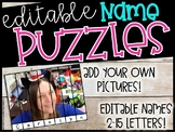 EDITABLE Name Puzzles - Name Practice Puzzles