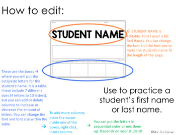 EDITABLE Name Spelling Cut and Paste Activity
