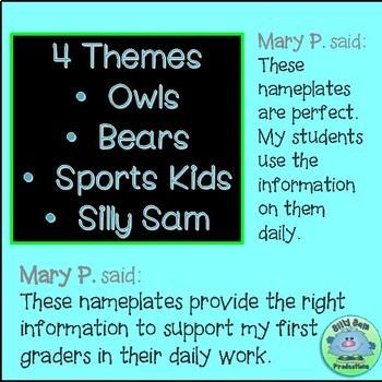 EDITABLE Name Tags 1st Grade Desk Toppers BUNDLE - 4 SETS