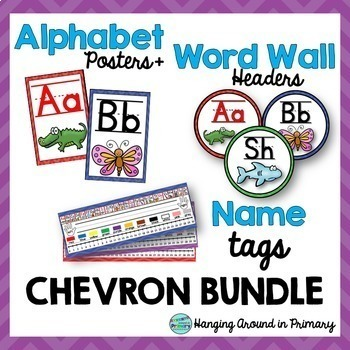 EDITABLE Name Tags + Alphabet Posters + Word Wall Headers - Chevron BUNDLE
