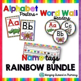 EDITABLE Name Tags + Alphabet Posters and Word Wall Headers - Rainbow BUNDLE
