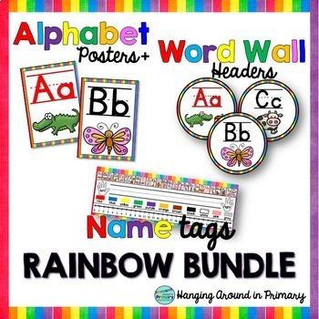 EDITABLE Name Tags + Alphabet Posters and Word Wall Header