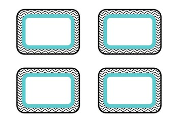 EDITABLE Name Tags {Black Chevron with Hot Pink, Lime Green, and Turquoise}