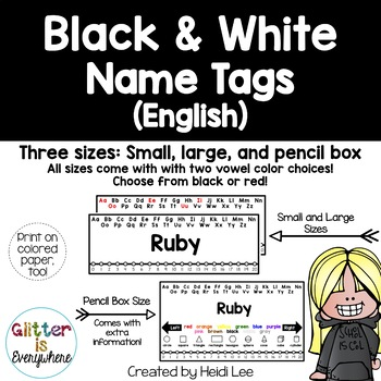 EDITABLE Name Tags {Tuxedo B/W Number Line with Black or Black/Red Alphabet}