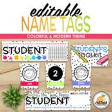 EDITABLE Name Tags   Colorful & Modern Theme