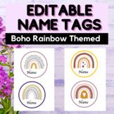 EDITABLE Name Tags - Desk Labels - Boho Rainbow Themed Cla