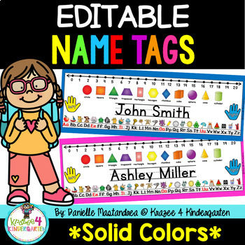 EDITABLE Name Tags Desk Plates {Solid Colors}