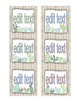 EDITABLE Name Tags I Book Bins I Target Adhesive Pockets (Succulents)