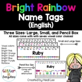 EDITABLE Name Tags {Rainbow Bright Number Line with Black and Colorful Alphabet)