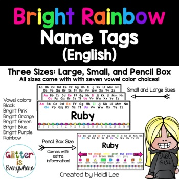 EDITABLE Name Tags {Rainbow Bright Number Line with Black