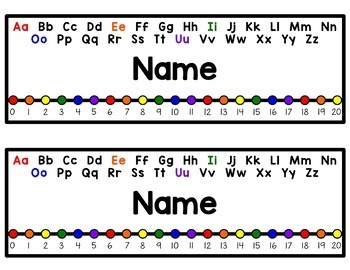 EDITABLE Name Tags {Rainbow Primary Number Line w/ Black and Colorful Alphabet}