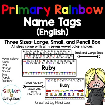 EDITABLE Name Tags {Rainbow Primary Number Line w/ Black a