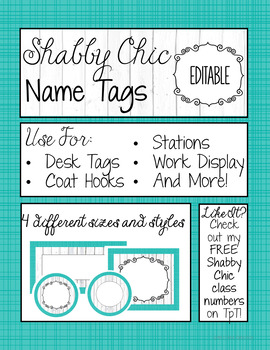 EDITABLE Name Tags - Shabby Chic