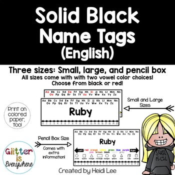 EDITABLE Name Tags {Solid Black Number Line with Black or Black/Red Alphabet}