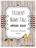 EDITABLE Name Tags l Book Bin Labels l Target Adhesive Labels (Woodland Animal)