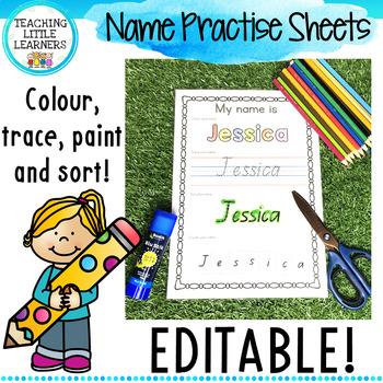 EDITABLE Name Tracing Practise Sheets