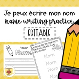 EDITABLE Name Writing Practice - FRENCH