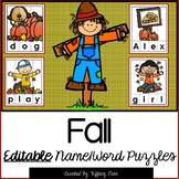 EDITABLE Name and Word Puzzles - Fall