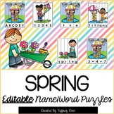 EDITABLE Name and Word Puzzles - Spring