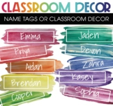 Name Tags and Classroom Labels Watercolor