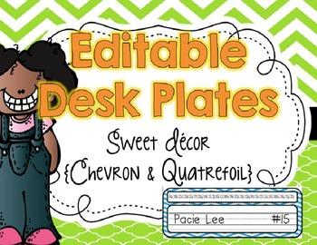 EDITABLE Name/Desk Plates {Sweet Decor Chevron and Quatrefoil}
